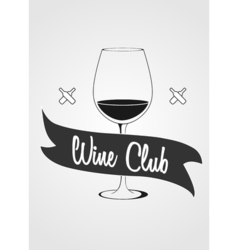 Logotype concept with wine glass and banner with vector image