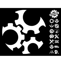 Mechanics Gears Icon with Tools Bonus vector