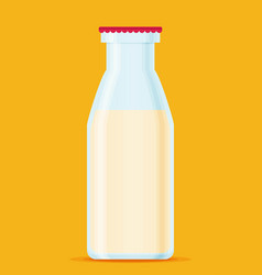milk bottle isolated bottle of milk flat cartoon vector image
