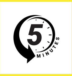Minute timer icons sign for five minutes vector