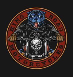 motorcycle vintage round badge vector image