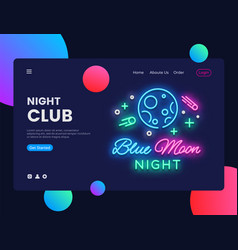 Night club concept banner blue moon night club vector