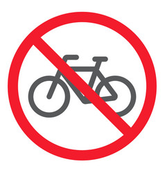 No bicycle glyph icon prohibition and forbidden vector