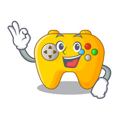 Okay video game controller shaped on charcter vector