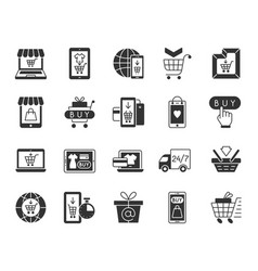 Online shop black silhouette icons set vector