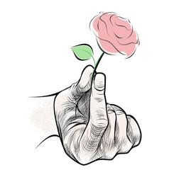 pink flower in hand vector image