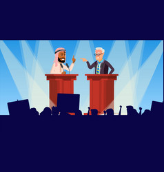 Political meeting speakers addresses an vector