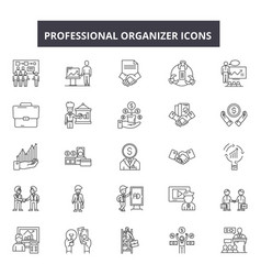 Professional organizer line icons signs vector