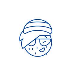 rasta emoji line icon concept rasta emoji flat vector image