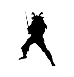 Samurai silhouette black vector image