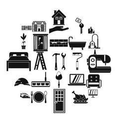 Sanitary engineering icons set simple style vector