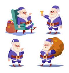 santa claus set isolated cartoon christmas vector image