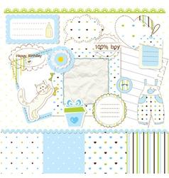 Scrapbook elements for baby boy vector