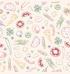 seamless pattern with delicious pizza toppings or vector image
