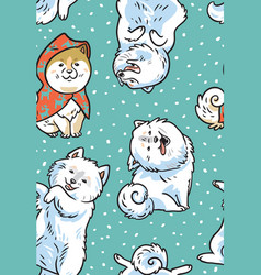 Seamless pattern with dogs akita inu and vector