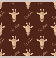 Seamless pattern with giraffes on a brown vector
