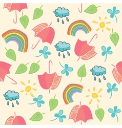 Seamless with umbrellas rainbow clouds and leaves vector image
