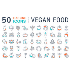 set flat line icons vegan food vector image
