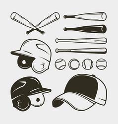 Set of baseball equipment and gear bat helmet vector