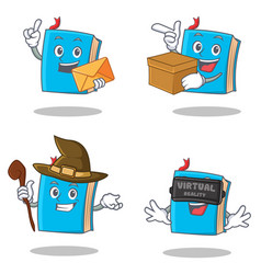 Set of blue book character with envelope box witch vector