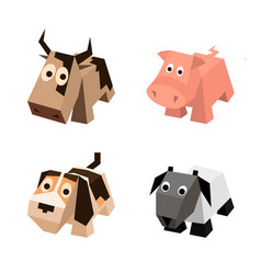 set of different isometric 3d animals vector image