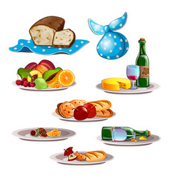 Set of food and leftovers isolated on white vector