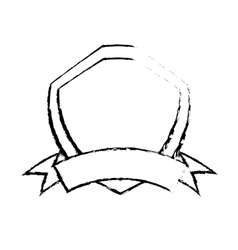shield premium badge ribbon sketch vector image