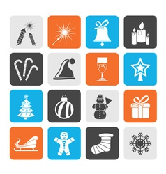 Silhouette Christmas and new year icons vector image