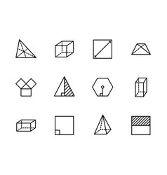 Simple set geometric figures line icon vector