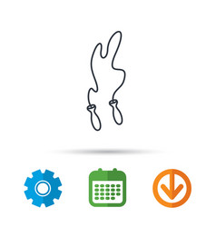 Skipping rope icon jumping sport tool sign vector