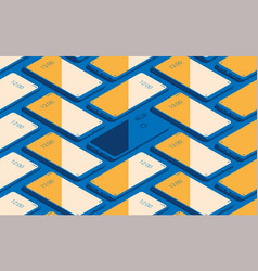 Smartphone seamless flat isometric pattern for vector