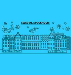 sweden stockholm winter holidays skyline merry vector image