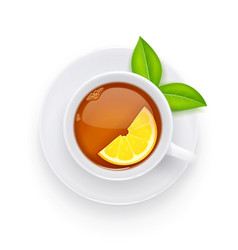 Tea cup and green leaf vector