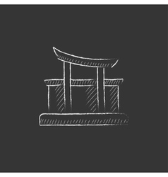 Torii gate Drawn in chalk icon vector