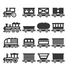 Train icons set on white background vector