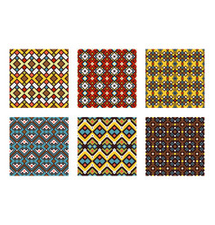 Tribal ornament colored pattern set vector