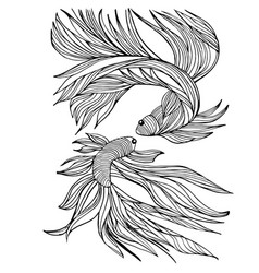 Two small fishes yin-yang hand-drawn vector