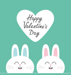 Two white bunny rabbit head couple set cute vector