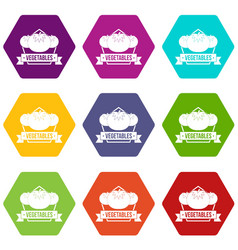 vegetables icons set 9 vector image
