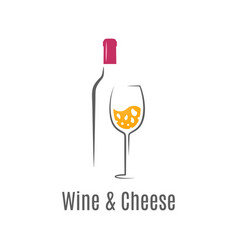 Wine bottle and glass cheese and wine logo vector