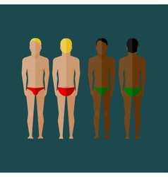 With men body front and back view in flat style vector