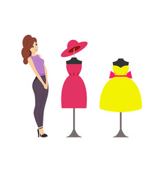 Woman looking at showcase with mannequins vector