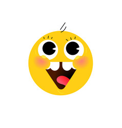 yellow round head face the icon is smiling flat vector image