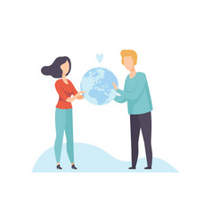 young man and woman holding earth globe vector image