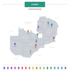 zambia map with location pointer marks vector image