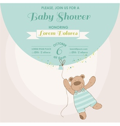 Baby Shower Card - Baby Bunny with Balloon vector image