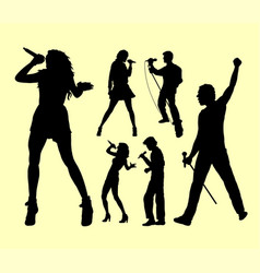 people singing silhouette vector image vector image