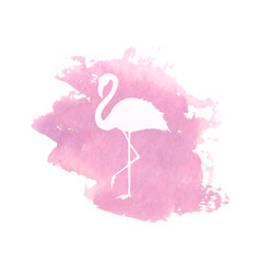 silhouette of flamingo on pink watercolor spot vector image