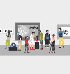 thoughtful visitors of contemporary art gallery vector image