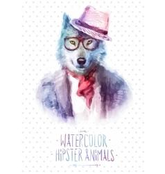 wolf portrait in sunglasses vector image